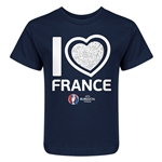 France Euro 2016 Heart Kid's T-Shirt (Navy)