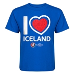 Iceland Euro 2016 Heart Kid's T-Shirt (Royal)