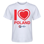 Poland Euro 2016 Heart Kid's T-Shirt (White)
