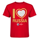 Russia Euro 2016 Heart Kid's T-Shirt (Red)