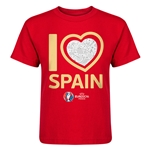 Spain Euro 2016 Heart Kid's T-Shirt (Red)