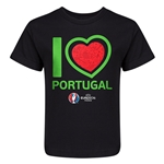 Portugal Euro 2016 Heart Kid's T-Shirt (Black)