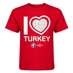 Turkey Euro 2016 Heart Kid's T-Shirt (Red)