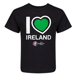 Ireland Euro 2016 Heart Kid's T-Shirt (Black)