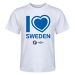 Sweden Euro 2016 Heart Kid's T-Shirt (White