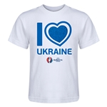 Ukraine Euro 2016 Heart Kid's T-Shirt (White)