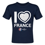 France Euro 2016 Heart Toddler T-Shirt (Navy)