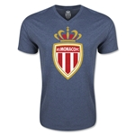 AS Monaco Soccer V-Neck T-Shirt (Heather Navy)