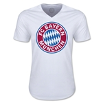 Bayern Munich Logo V-Neck T-Shirt (White)