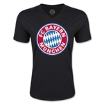 Bayern Munich Logo V-Neck T-Shirt (Black)