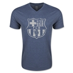 Barcelona Distressed V-Neck T-Shirt (Heather Navy)