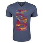 Barcelona Fractal V Neck T-Shirt (Heather Navy)