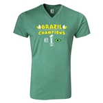 Brazil FIFA Confederations Cup 2013 Champions V-Neck T-Shirt (Heather Green)