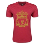 Liverpool Distressed Crest V-Neck T-Shirt (Heather Red)