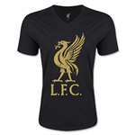 Liverpool Distressed Liver Bird V-Neck T-Shirt (Black)