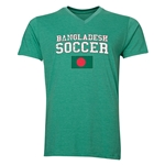 Bangladesh Soccer V-Neck T-Shirt (Heather Green)