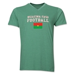 Burkina Faso Football V-Neck T-Shirt (Heather Green)