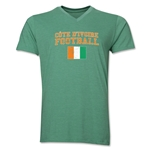 Cote d'Ivoire Football V-Neck T-Shirt (Heather Green)