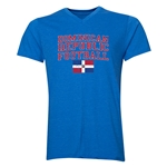 Dominican Republic Football V-Neck T-Shirt (Heather Royal)