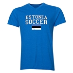 Estonia Soccer V-Neck T-Shirt (Heather Royal)