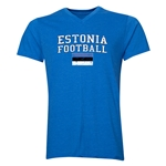 Estonia Football V-Neck T-Shirt (Heather Royal)