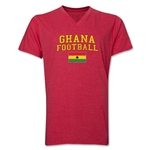 Ghana Football V-Neck T-Shirt (Heather Red)