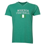 Nigeria Football V-Neck T-Shirt (Heather Green)