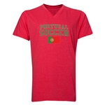 Portugal Soccer V-Neck T-Shirt (Heather Red)