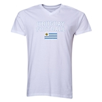 Uruguay Football V-Neck T-Shirt (White)