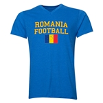 Romania Football V-Neck T-Shirt (Heather Royal)