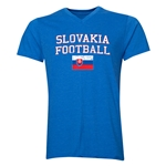 Slovakia Football V-Neck T-Shirt (Heather Royal)