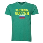 Slovenia Soccer V-Neck T-Shirt (Heather Green)