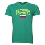 Slovenia Football V-Neck T-Shirt (Heather Green)