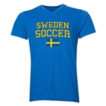 Sweden Soccer V-Neck T-Shirt (Heather Royal)