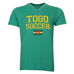 Togo Soccer V-Neck T-Shirt (Heather Green)