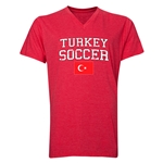 Turkey Soccer V-Neck T-Shirt (Heather Red)