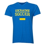 Ukraine Soccer V-Neck T-Shirt (Heather Royal)