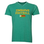 Zimbabwe Football V-Neck T-Shirt (Heather Green)