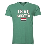 Iraq Soccer V-Neck T-Shirt (Heather Green)