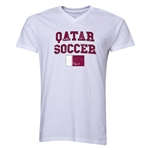 Qatar Soccer V-Neck T-Shirt (White)