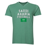 Saudi Arabia Football V-Neck T-Shirt (Heather Green)
