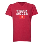 Tunisia Soccer V-Neck T-Shirt (Heather Red)