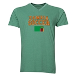 Zambia Soccer V-Neck T-Shirt (Heather Green)