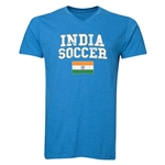 India Soccer V-Neck T-Shirt (Heather Turquoise)