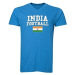 India Football V-Neck T-Shirt (Heather Turquoise)