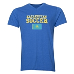 Kazakhstan Soccer V-Neck T-Shirt (Heather Royal)