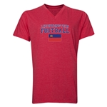 Liechtenstein Football V-Neck T-Shirt (Heather Red)