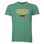 Lithuania Football V-Neck T-Shirt (Heather Green)