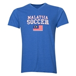 Malaysia Soccer V-Neck T-Shirt (Heather Royal)