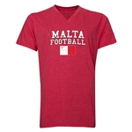 Malta Football V-Neck T-Shirt (Heather Red)